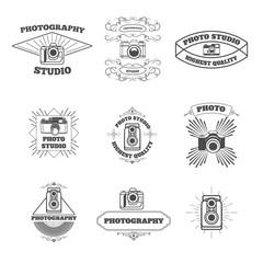 Set of vintage photo studio labels and emblems. Design element f