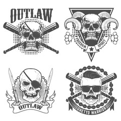 Set of gangsta emblems templates. Skull with two crossed knives