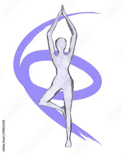 Yoga Girl Pencil Drawing Stock Image And Royalty Free Vector Files
