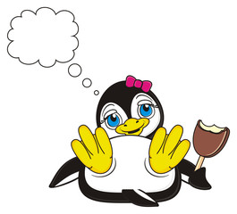 ice cream, callout, clean, think, bow, pink, hold, girl, penguin, bird, zoo, animal, cartoon, profile, white, black, cute