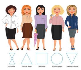Set of woman s figures