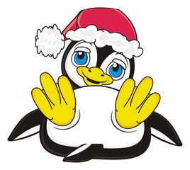 New Year, holiday, hat, Santa Klais, december, christmas, penguin, bird, zoo, animal, cartoon, profile, white, black, cute