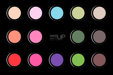 Colorful array of trendy eyeshadows over black