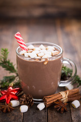 Poster Chocolate Christmas hot chocolate with marshmallow