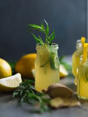 Lemonade with lemons and lime