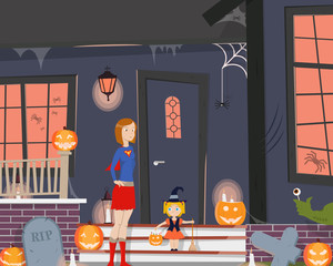 Mom with her daughter dressed up for Halloween, and stand near the entrance to the house. Vector illustration