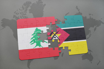 puzzle with the national flag of lebanon and mozambique on a world map background.