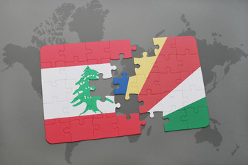 puzzle with the national flag of lebanon and seychelles on a world map background.