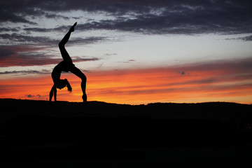 Yoga practicioner during the sunse