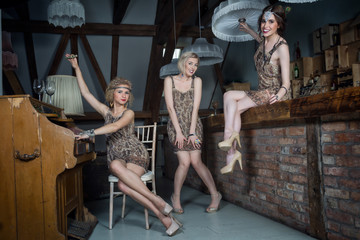 Lovely girls dressed in flapper style outfits
