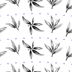 Vector seamless pattern with olive leaves.