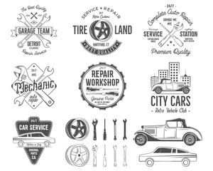 Vintage car service badges, garage repair retro labels and insignias collection. Included tire service icons and design elements. For repair workshop, classic cars auctions, clubs, tee shirt. Vector