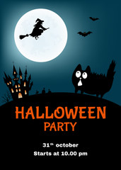 Halloween   party  poster  with  funny cat.