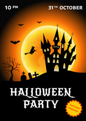 Halloween  party  poster vector  illustration  with castle, witc