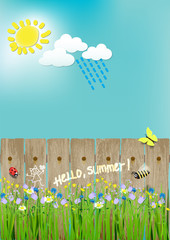 summer landscape, flowers, sun, bee, ladybug, butterfly. hello summer.vector illustration