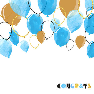 Watercolor blue and glittering gold balloon. Vector celebration background.