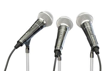 microphones on stands, 3D rendering