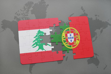 puzzle with the national flag of lebanon and portugal on a world map background.
