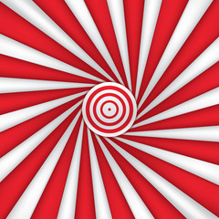 Red and white abstract rays circle background, striped wallpaper, mesh version, vector design