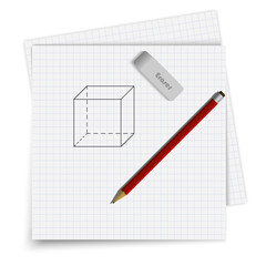 Set of sheet in cell, an eraser and a pencil. Geometrical figure drawn on paper. Student supplies image. Top view illustration.