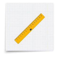 The yellow ruler lying on the sheet of paper. Student supplies image. Top view illustration.
