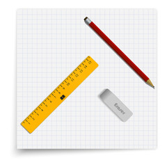 Set of sheet in cell, an eraser, a pencil and a ruler. Student supplies lying on the sheet of paper. Top view illustration.