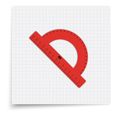 Red realistic protractor lying on the sheet of paper. Student supplies image. Top view illustration.