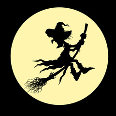 Silhouette of a witch flying on a broom on background of the moon.