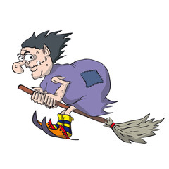 Funny witch flying on a broomstick. Cartoon hag in purple cloak.