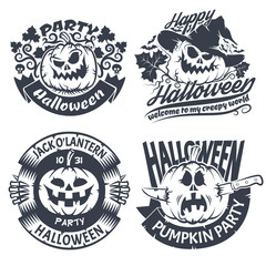 Halloween emblem set. Original logo with pumpkins - jack-o'-lantern.