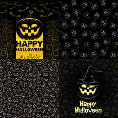 Halloween Party posters or invitations. Halloween seamless patterns. Postcards Happy Halloween.