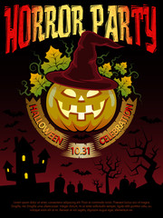 Poster for Halloween party with  pumpkin in a hat magician.