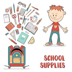 School supplies in a backpack student. Schoolboy in a cartoon style.