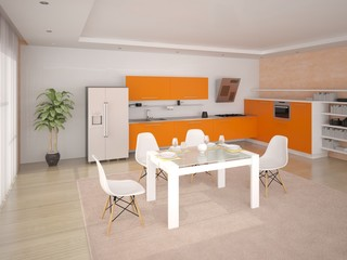 Stylish modern kitchen with orange furniture.