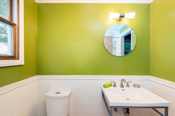 Fresh Green bathroom with rectangle sink and wooden floor.