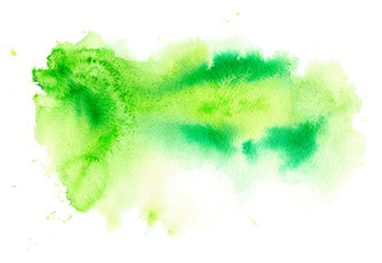 Green watery illustration.Abstract watercolor hand drawn image.Wet splash.White background.