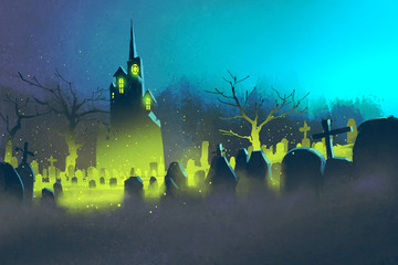 spooky castle,Halloween concept,cemetery at night,illustration painting