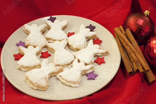 Plate Of Christmas Angel Cookies Stock Photo And Royalty Free
