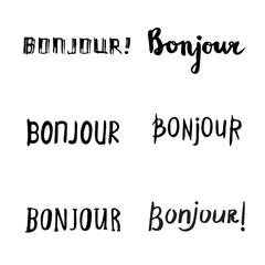 Hand drawn bonjour phrases.