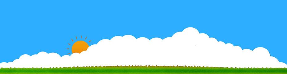 空と雲と太陽と草原の爽やかなイメージイラスト