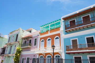 Historic buildings in Old San Juan, Puerto Rico.
