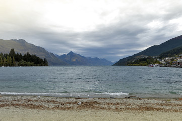 Queenstown lakefront by Lake Wakatipu, New Zealand