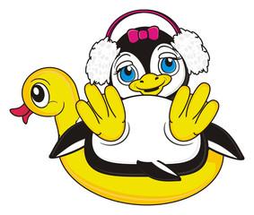 headphones, inflatable mound, she, girl, pink, bow, penguin, bird, zoo, animal, cartoon, profile, white, black, cute,