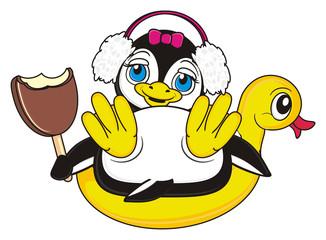 ice cream, headphones, inflatable mound, hold, she, girl, pink, bow, penguin, bird, zoo, animal, cartoon, profile, white, black, cute,