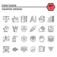 Graphic design thin line related icons set on white background. Simple mono linear pictogram pack Stroke vector logo concept for web graphics.