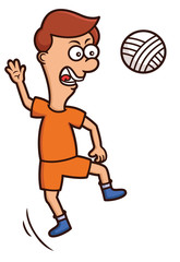 Volleyball Player Jumping to Hit Ball Cartoon Illustration