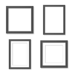 Set of black blank realistic frames mockup