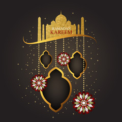 Illustration of Ramadan Kareem with intricate lamp design for the celebration of Muslim community festival.