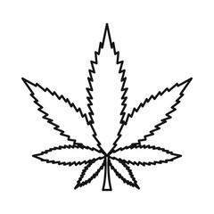 Cannabis marijuana leaf icon in outline style isolated on white background. Vector illustration