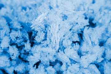 Ice crystals - macro image. Winter background and textures.